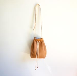 Tan Pebbled Leather Bucket Bag